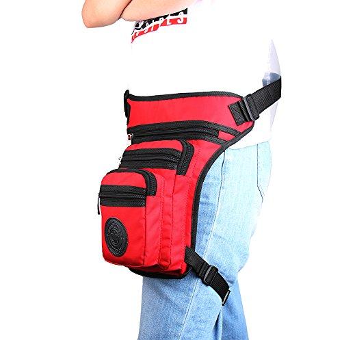 Genda 2Archer Taktische Drop Beintasche Nylon Taille Tasche Crossbody Umhängetasche (Schwarz) Rot