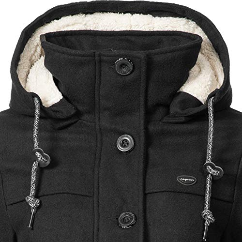 Ragwear Damen Wollmantel Wintermantel Winterparka Like You Schwarz Uni0818 Gr. M - 6