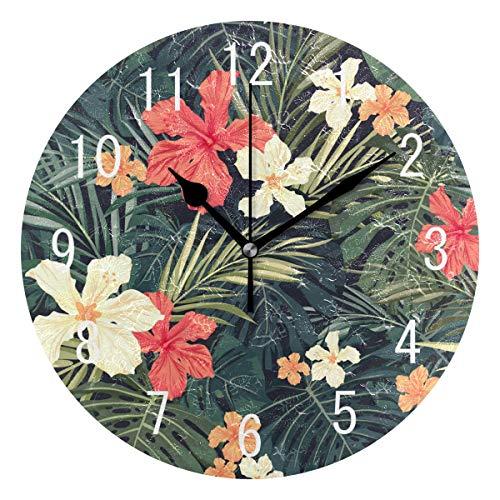 Domoko Home Decor Colorful Hawaii Palm Baum Tree Blume Flower Acryl, Rund Wanduhr Geräuschlos Silent Uhr Kunst für Wohnzimmer Küche Schlafzimmer