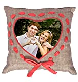 Personalized Pillow - JUTE TITAN BROWN HEART BORDERED - 13