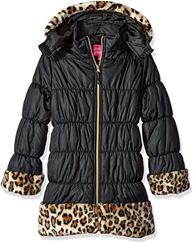 Pink Platinum Little Girls' Cheetah Faux Trim Long Puffer Jacket, Black, 6X (Animal Coat Print Trench)