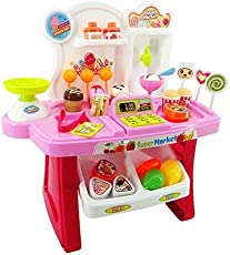 Smartcraft Luxury Supermarket Shop - Pink, Candy Sweet Shopping Cart, Ice Cream Supermarket Role Play Set Toy for Kids