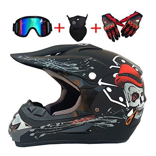 LEENY Motocross-Helm mit Brille/Maske/Handschuhe, Herren Motorrad-Helm Motorrad-Fahren Full-Face Motorrad Off-Road-Helm Enduro ATV Motorräder Cross-Helm für Männer Damens,Matte/Black,M