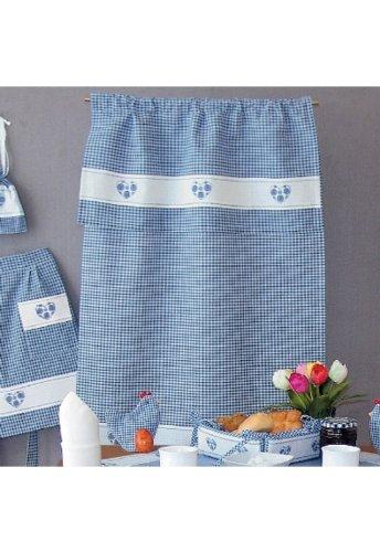 Küche und mehr - Überhandtuch, blau-weiß kariert Stickerei 'Herz' (70/100 cm)