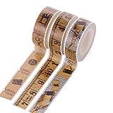 Lumanuby 3 Roll Washi Tape Vintage aus Dekoband Lineal und Nähmaschine Bild Masking Tape für Tagebuch/Buch/Album/Cup Geschenk für Semester Klebebänder Serie