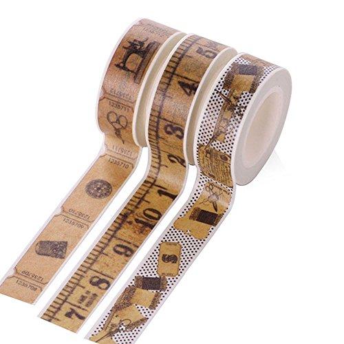 Lumanuby 3 Roll Washi Tape Vintage aus Dekoband Lineal und Nähmaschine Bild Masking Tape für Tagebuch/Buch/Album/Cup Geschenk für Semester Klebebänder - Scrapbook-nähmaschine