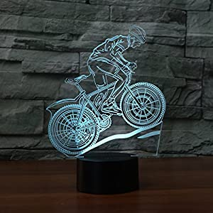Decorative night lamp with 3D illusion of the Ahat brand with Smart Touch button for offices or homes(Bicicleta de montaña)