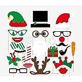 Veewon Noël Photo Booth Props Xmas Party Favors Photo Booth Décorations, 24pcs Kit DIY Lèvres Photobooth Lunettes Moustache rouge corne de cerf Chapeau de Père Noël