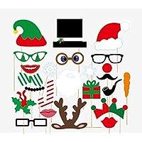 Veewon Natale Photo Booth Puntelli Xmas Party Favors Photo Booth Decorazioni, 24pcs kit fai da te Lips Photobooth Occhiali Moustache Red Deer Horn cappello della Santa