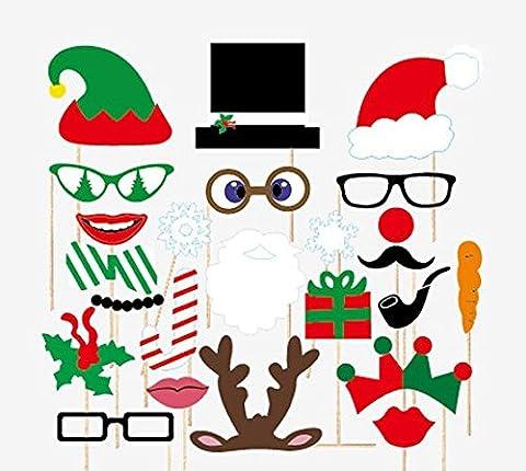 Veewon Christmas Photo Booth Props Xmas Party Favors Photobooth Decorations, 24pcs DIY Kit Photobooth Glasses (Natale Puntelli Photo)