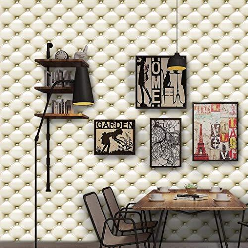 Quaan 3D Jahrgang Leder strukturiert Tapete PVC Wandgemälde Realistisch Aussehen Wasserdicht Schlafzimmer Dekor DIY Mauer Aufkleber Zuhause Küche Möbel Spiegel Windows Tür Gemälde (300cm x 40 cm, I)
