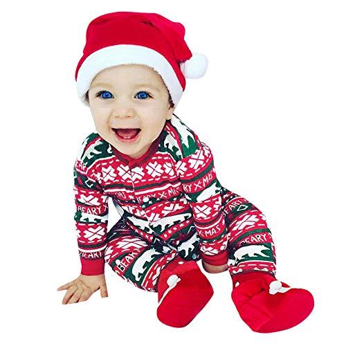 Longra Babykleidung Strampler Neugeboren Baby Jungen Mädchen Cartoon Bär Weihnachten Strampler Overall Outfits Weihnachten Strampelanzug Winteroverall kostüm Warm Jumpsuits (70CM 6 Monate, rot)