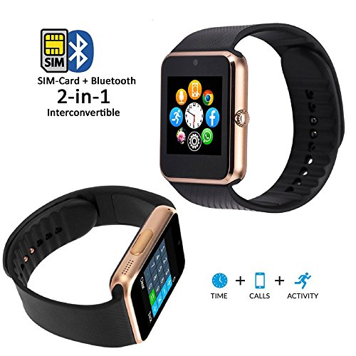 Bingo T50- Gold Bluetooth Smart Watch with Sim card enabling features and many more which is compatible with anroid and ios device