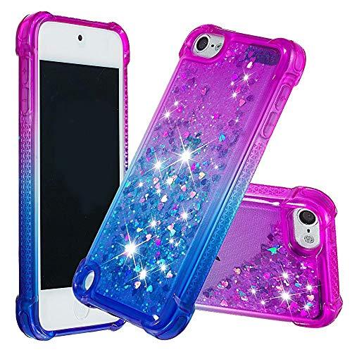 dudubaobei Geeignet für iPod Touch 6./5. Fall für Frauen Mädchen Kinder Glitter Sparkle Bling Flüssigkeit schwimmenden Wasserfall langlebig niedlich Fall-lila/blau - 5 Ipod-touch-fall Lila