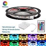 3M RGB LED Strisce LED Luci Impermeabile 5050 TV Retroilluminazione con alimentatore a batteria e 24 tasti IR Controller per illuminazione interna da interno per esterni Decorazione natalizia