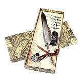 Pawaca Kit de calligraphie vintage avec stylo métallique en forme de plume et encre, gris, Taille unique