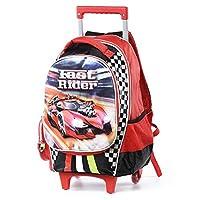 LOUYT Cartoon 3D Kids Children In School Trolley Bag Racing Car Backpack With Wheels Boys Bookbag Boys Student Bag 14Inch Trolley
