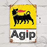 BNTN Agip Vintage Racing Shed Garage Fuel Oil Tin Sign Metal Sign Metal Poster Metal Decor Metal Painting Wall Sticker Wall Sign Wall Decor