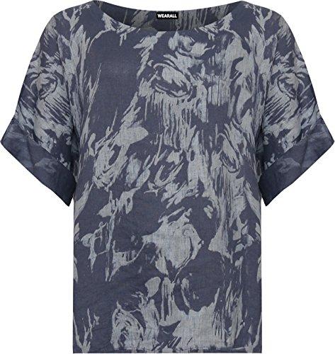 WEARALL Plus Damen Übergroß T-Shirt Top Damen Tie Farbstoff Spritzen Druck Kurz Hülle Ausgebeult - 44-54 Blau