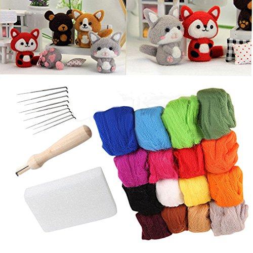 16x10g Farben Filzwolle Märchenwolle + Felting Nadeln Werkzeug Set Matte Starter Kit