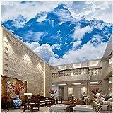 WH-PORP 3D Tapete Blauer Himmel und weiße Wolken Fototapeten Wallpaper 3D Decke Wohnzimmer Schlafzimmer Home Decor Klassische Natur Landschaft Wandmalerei-200cmX140cm