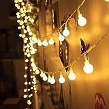 ELINKUME Catena Luminosa 40 LED Luci Stringa Sfere Delle palle a Batteria 4.2 Metri Mood Lights Illuminazione per Esterni e Interno per Natale, Matrimonio, Festa, Vacanza - Bianco Caldo