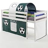 IDIMEX Hochbett Abenteuerbett Spielbett Erik, mit Vorhang und Tunnel Fußball, Kiefer massiv in weiß lackiert, 90 x 200 cm