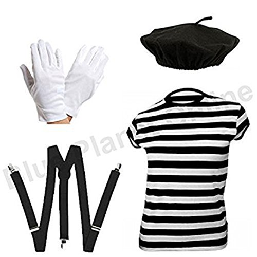 Blue Planet Online - Ladies French Mime Artiste T Shirt, Beret, Gloves & Braces Fancy Dress (Women: 10-12)