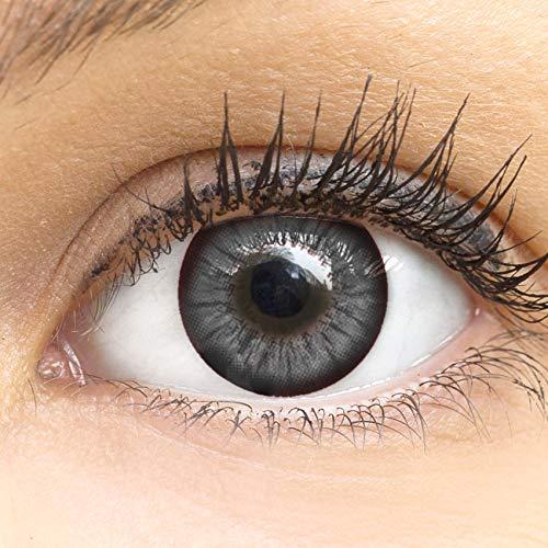 MeralenS Anime Manga Graue Circle Lenses - Sweet Grau ohne Stärke mit Kontaktlinsenbehälter - 15mm Farbige Big Eyes Contact Lenses