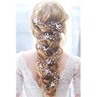 Gracewedding nuziale cristallo fiore di strass argento Vintgae Hair Vine  copricapo per festival 652c1ddd1056