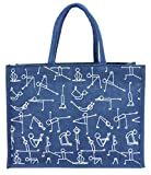 #6: EWB Yoga Print Blue Jute Lunch Bag,Large
