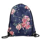 Rose Navy Floral Print Drawstring Backpack Rucksack Shoulder Bags Gym Bag Sport Bag