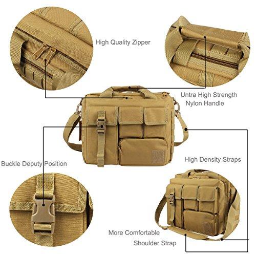 GES Multifunktions Herren Dame im Freien taktischen Nylon Schulter Laptop Messenger Bag Aktentasche Handtaschen groß genug für 15.6 Laptop / Kamera / iPad (Schwarz) Braun