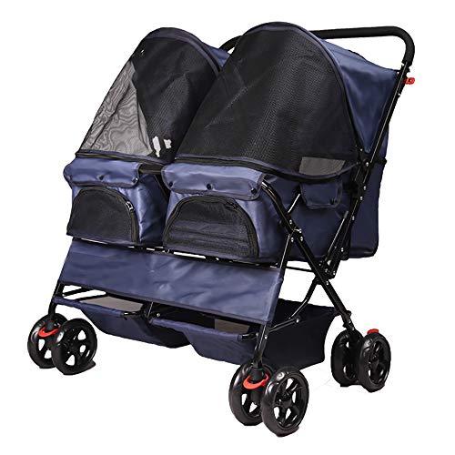 QNMM Doppel-Haustier-Kinderwagen 4 Räder Doppel-Sitz-Haustier-Kinderwagen Doppel-Schlaf-Nest-Bett-Auto-Leichtgewichtler-Faltender Entfernbarer Kinderwagen-Reise-Träger, Lager 20Kg