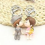 DollylaStore Schlüsselanhänger Schlüsselanhänger Paar Charakter Schlüsselanhänger Tasche Anhänger Puppe Keychain (graue Jungs)