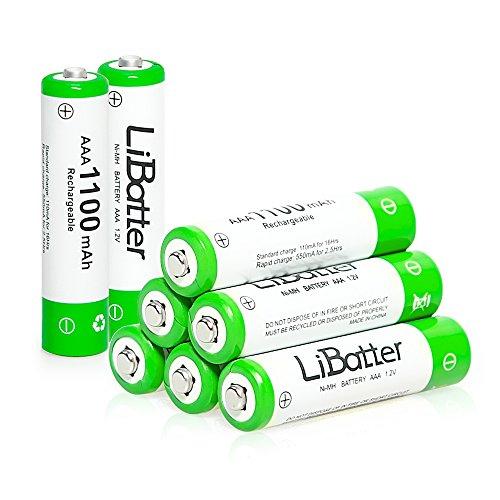 LiBatter (confezione da 8) AAA Batteria Ricaricabile, AAA 1100mAh 1.2V Ni-MH Ricaricabili batteria 8 pezzi con Scatola portaoggetti