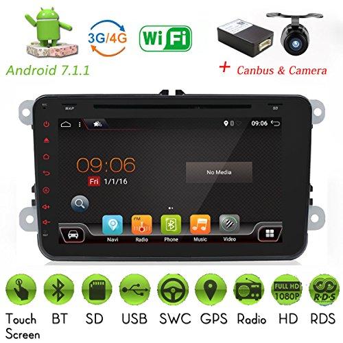 Android 7.1.1 Quad Core 2 G 16 g avec caméra et micro Wifi Modèle de voiture lecteur DVD GPS 2 DIN 20,3 cm pour Volkswagen VW Skoda Polo Passat B6 CC Tiguan Golf 5 Fabia support Miroir Link/OBD2/caisson de basses