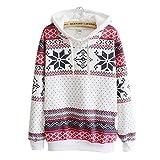 Tongshi Las mujeres de la nieve de la Navidad del suéter con capucha del puente del suéter sudadera (M)