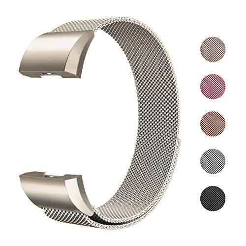 Fulwart Ersatzarmbänder Kompatibel für Fitbit Charge 2,Milanese Loop Edelstahl Verstellbare Ersatz Armbänder mit Magnetverschluss für Fitbit Charge 2,Klein- Champagner