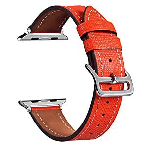 Apple Watch Band, V-MORO Luxury Genuine Watch Leather Bands Strap Bracelet Replacement Wrist Band With Adapter for Apple Watch iWatch All Models (Single Tour 42mm Tangerine)
