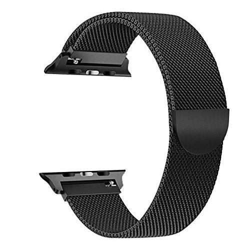 Für Apple Watch Armband 42mm, VIKATech Milanese Schlaufe Edelstahl Smart Watch Armbänder mit einzigartiger Magnetverriegelung ohne Schnalle für Apple Watch Armband 42mm Series 3 / 2 / 1, Sport, Edition, Nike+, Schwarz