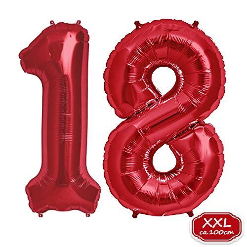 """FUNXGO Folienballon Zahl in Rot- XXL 40\""""/100cm Riesenzahl 100cm Ballon - Folienballons für Luft oder Helium als Geburtstag, Hochzeit , Jubiläum oder Abschluss Geschenk, Party Dekoration (Rot [ 18 ])"""