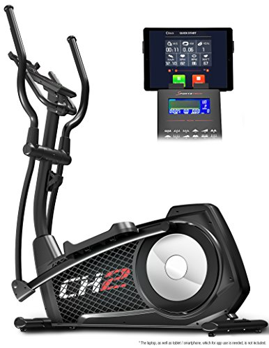 Sportstech CX2 Crosstrainer with smartphone App & integrated power generator - elliptical trainer incl. Bluetooth console and tablet holder - ergometer with 27 kg flywheel mass