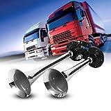 kaxon Trompeta,–Bocina con compresor cuerno de aire silbato 150dB 12V cinc cromo doble Trompeta para camión tren coche barco moto