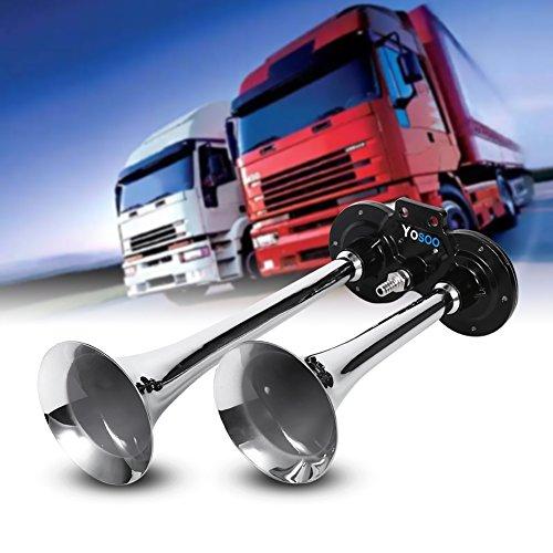 Preisvergleich Produktbild Kaxon Trompete,  Hupe mit Kompressor,  Lufthorn,  Pfeife,  150 dB,  12 V,  Zink,  Chrom,  Doppel-Trompete für LKW,  Zug,  Auto,  Boot,  Motorrad
