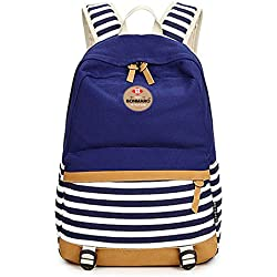 Bonmaro Stripes 25L Navy Blue Water Repellant Casual Canvas Backpack