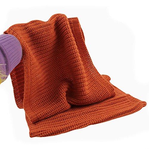 Fletion Femmes Hommes tricotage Echarpes en laine Chaude hiver épais tricoté écharpe Snood châle Circle Loop Orange