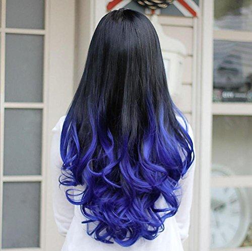 Gemischte Farbe Mode Ombre Big Wave Synthetische Perücke lockiges langes 3/4 Haar kein Pony zwei Töne Hitzebeständige halbe Perücken (schwarz / lila) , blue