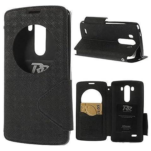 LG G3 View Case Hülle Tasche Flip Cover Klapphülle Schutzhülle Flip Case Handyhülle | Premium Design Wallet mit View Fenster | 100% Passgenau | Robuste Silikon-Innenschale | Magnetverschluss | Easy Touch | Aufstellfunktion | Schwarz