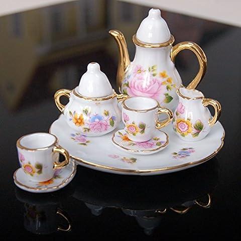 Oshide 8p Dollhouse Miniature manger Ware thé en porcelaine vaisselle Motif Flower Cup 1/6